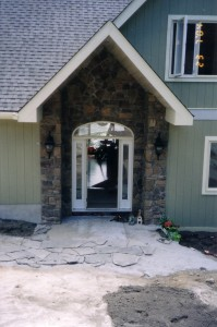 Field stone to accent a front entrance.