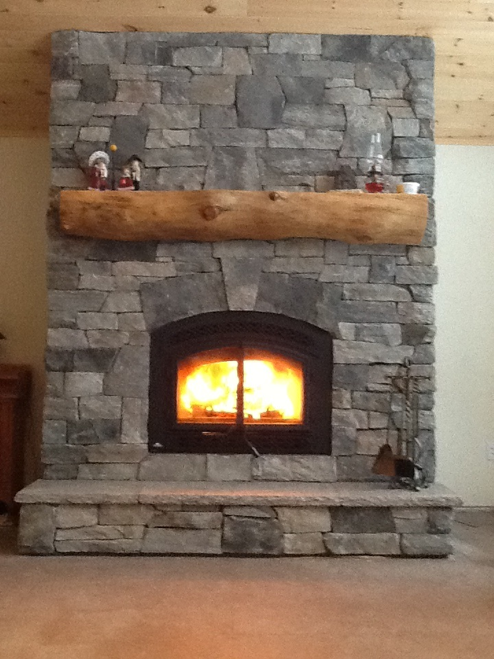 Stone Veneer Fireplace : Granite stone veneer fireplace in haliburton the