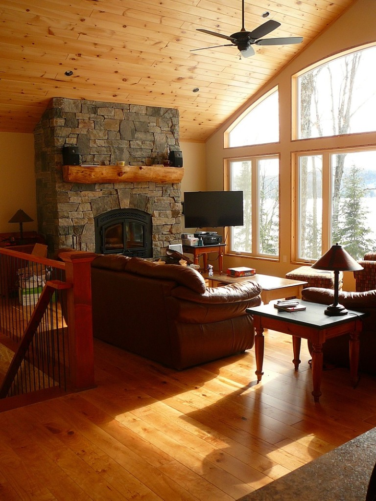 Granite stone veneer fireplace in Haliburton