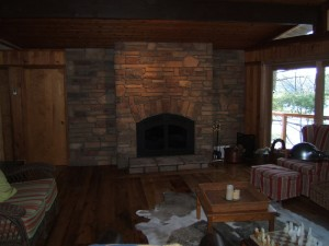 A beautiful cultured stone fireplace