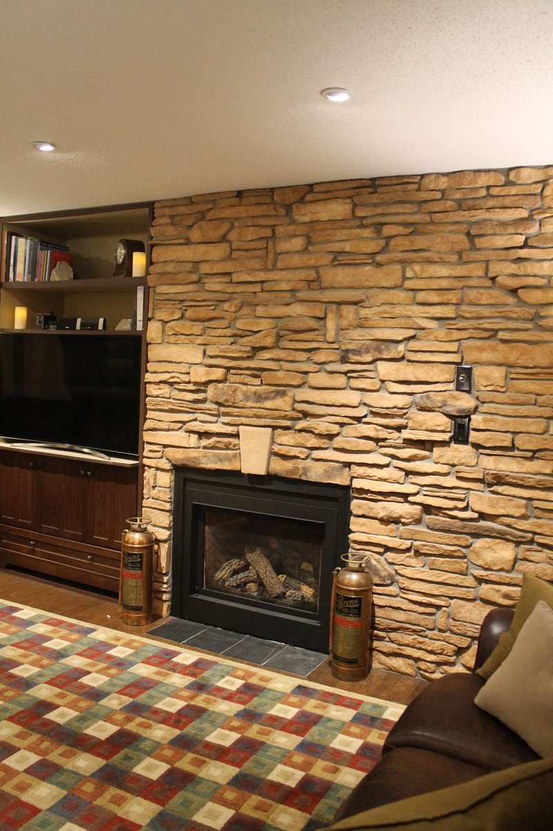 Culture Stone Fireplace Interior Feature Wall