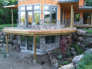 Basement entrance containing cultured stone