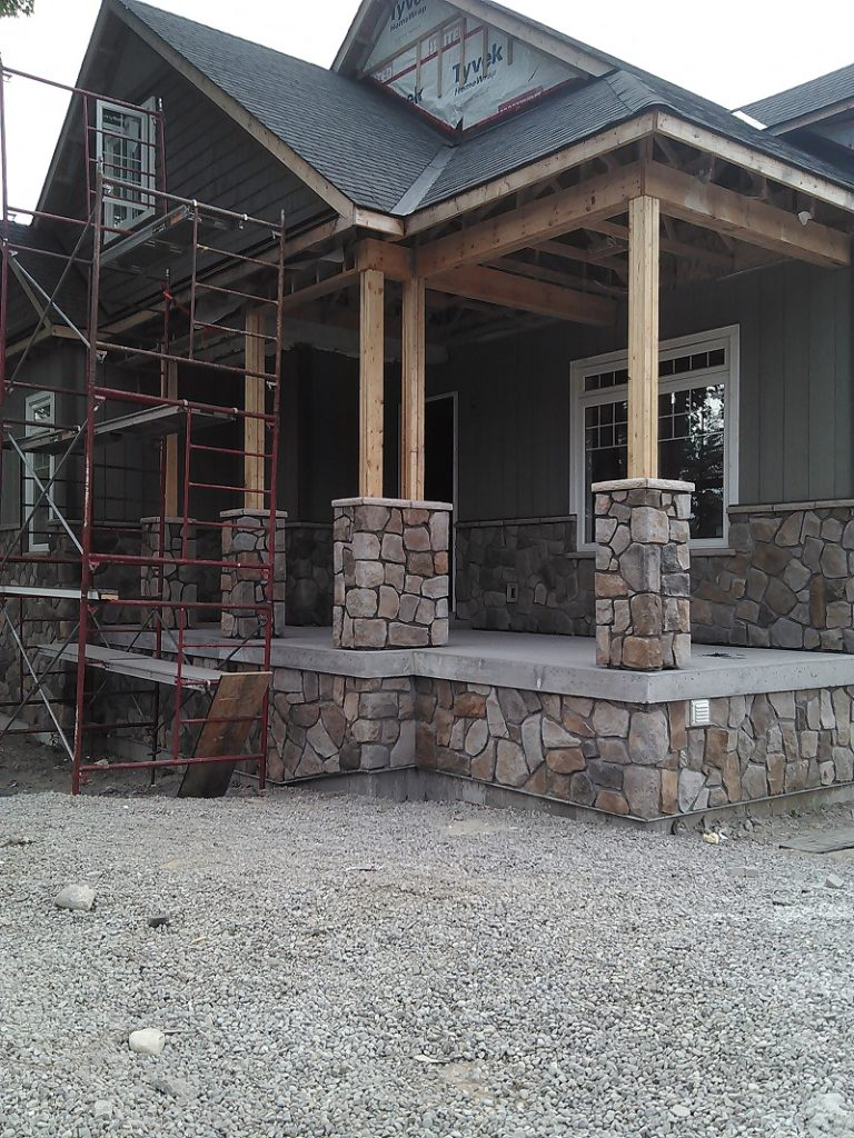 Cultured stone on craftsman style pillars