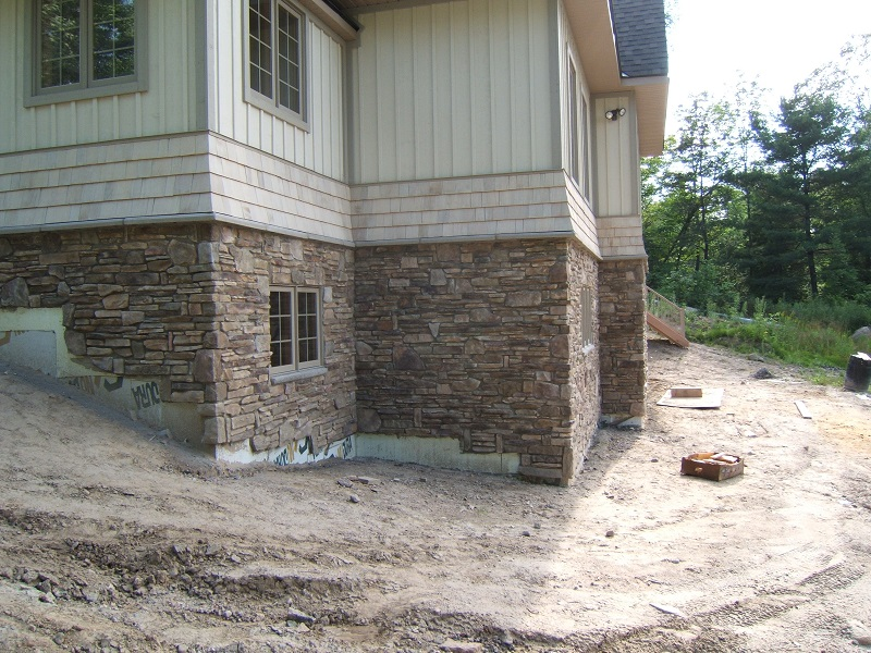 Cultured stone on foundation
