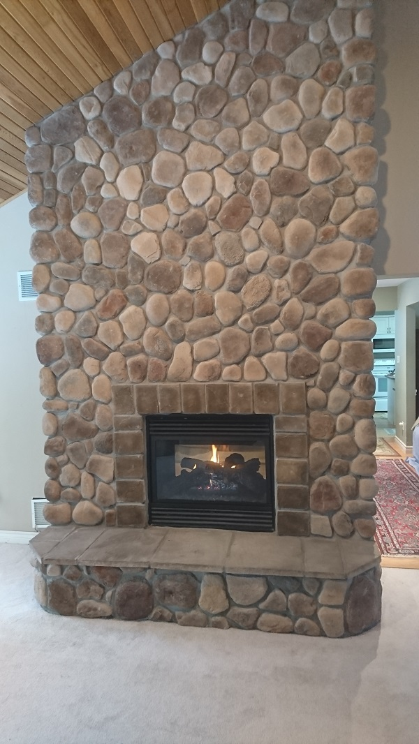 Stone Veneer Over A Brick Fireplace, Can You Go Over A Brick Fireplace With Stone