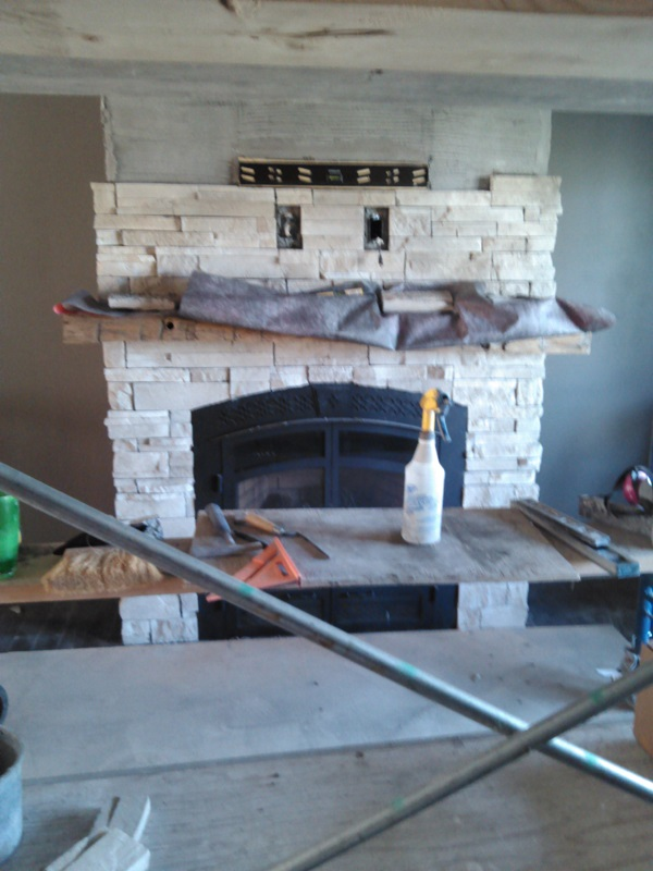 Image of dry stack stone veneer going on fireplace.
