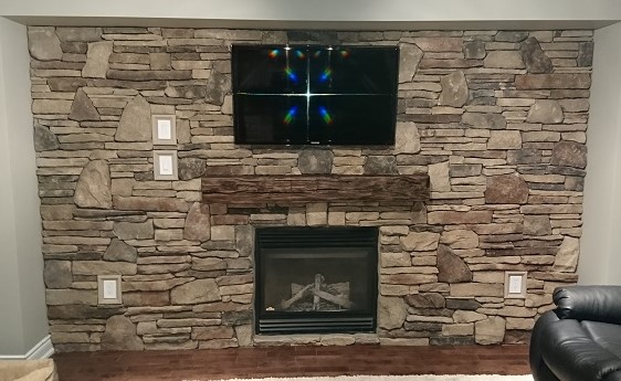 Cultured stone accent wall