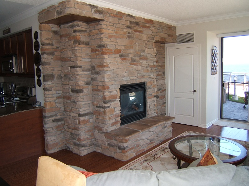 Fireplace featured without a mantle