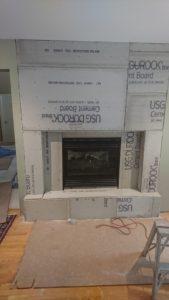 Re framed TV room wall ready for stone veneer