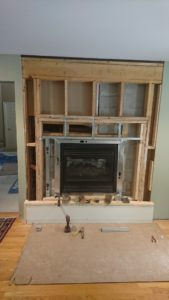 Re framed wall in TV room
